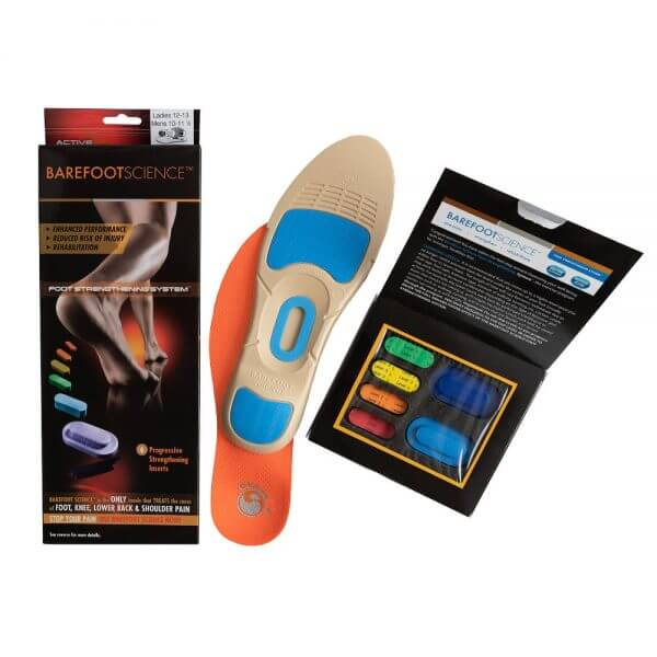 Barefoot Science Insoles active three quarter with packaging