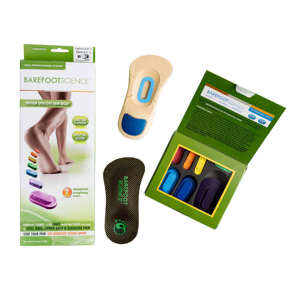 An image of Barefoot Science Therapeutic Insoles and packaging